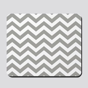 Grey, Fog: Chevron Pattern Mousepad