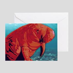 Painted Manatee Artwork Greeting Card