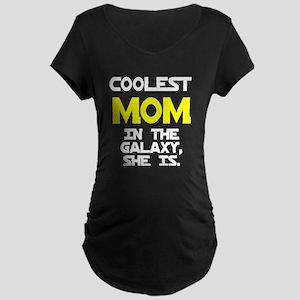 Coolest Mom Galaxy She Is Maternity Dark T-Shirt