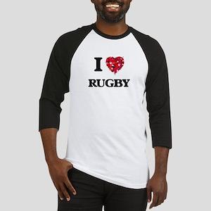 I Love Rugby Baseball Jersey