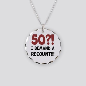 50th Birthday Gag Gift Necklace Circle Charm