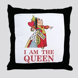 """The Queen of Hearts says, """"I am the Q Throw Pillow"""