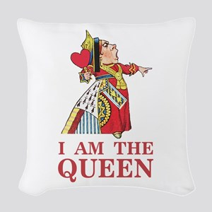 """The Queen of Hearts says, """"I a Woven Throw Pillow"""
