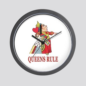 Queens Rule, says the Queen of Hearts Wall Clock