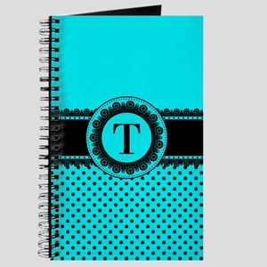 Turquoise Black Polka Dots Journal
