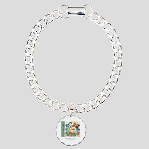 Twinkling Stars Design. Charm Bracelet, One Charm