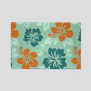Teal-Orange Hawaiian Hibiscus Rectangle Magnet