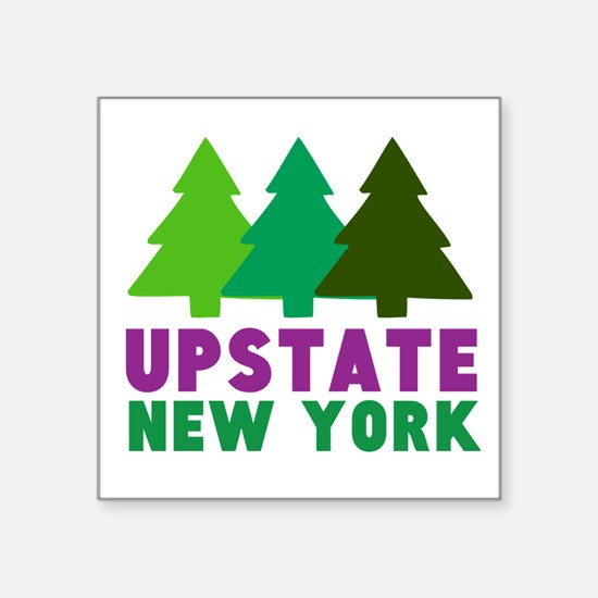 "UPSTATE NEW YORK (PINE TREE Square Sticker 3"" x 3"""