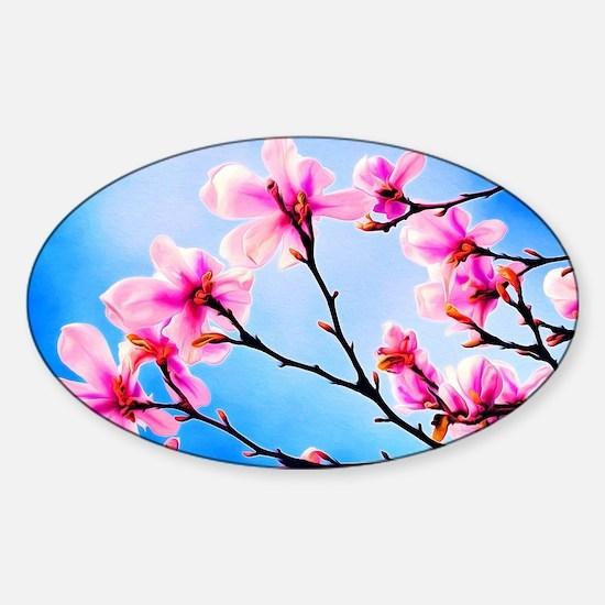 Spring Tree Art Sticker (Oval)