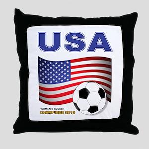 USA Soccer Womens Champions 2015 Throw Pillow