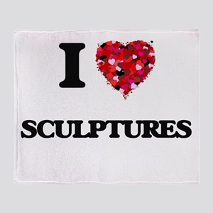 I Love Sculptures Throw Blanket