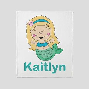 kaitlyn's mermaid personalized Throw Blanket