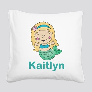 kaitlyn's mermaid personalize Square Canvas Pillow