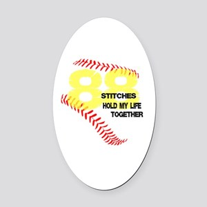 88 stitches Oval Car Magnet