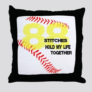 88 stitches Throw Pillow
