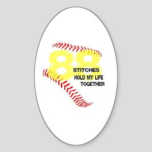 88 stitches Sticker (Oval)