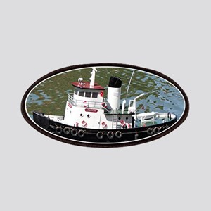 Model tugboat reflections in water Patch