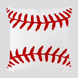 Baseball Laces Square Woven Throw Pillow