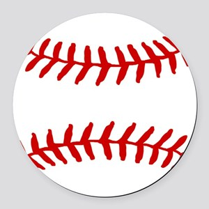 Baseball Laces Square Round Car Magnet