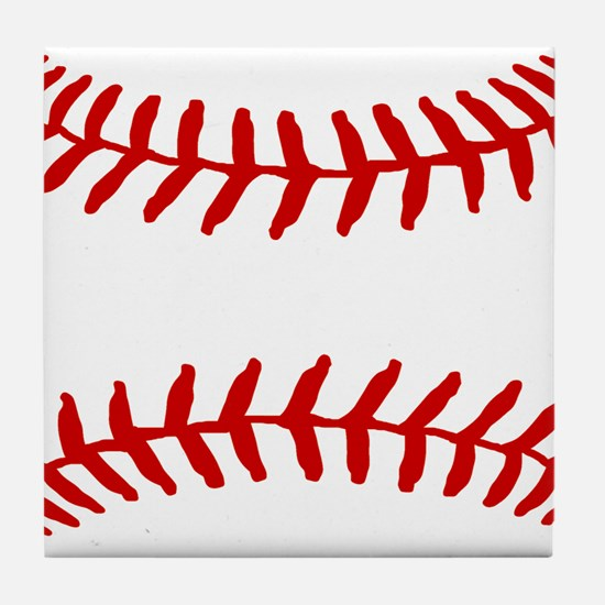 Baseball Laces Square Tile Coaster