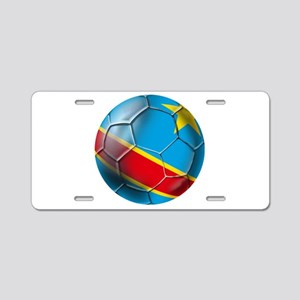DR Congo Soccer Ball Aluminum License Plate