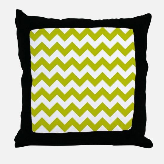 Chartreuse Green Herringbone Throw Pillow