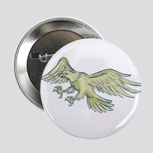 """Bald Eagle Swooping Etching 2.25"""" Button (10 pack)"""