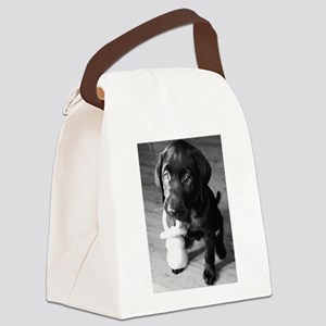Pacifier Puppy B&W Canvas Lunch Bag