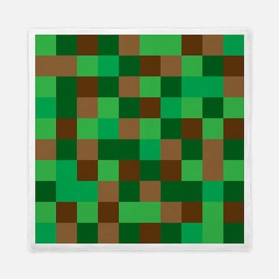 Green Pixelated Design Queen Duvet