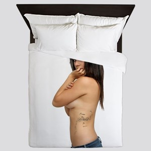 Topless Brunette with Tattoos (1) Queen Duvet