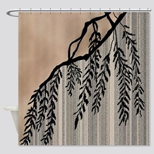 Pinstripes Willow And Clouds Shower Curtain