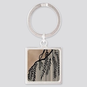 Pinstripes, Willow, and Clouds Square Keychain