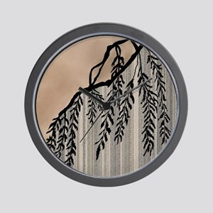 Pinstripes, Willow, and Clouds Wall Clock
