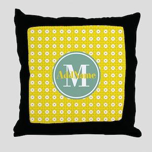 Yellow Floral Pattern Mint Monogram Throw Pillow