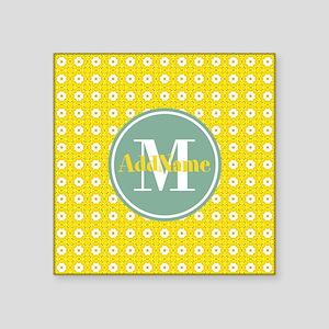 "Yellow Floral Pattern Mint Square Sticker 3"" x 3"""