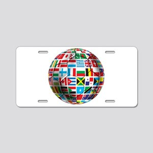World Soccer Ball Aluminum License Plate