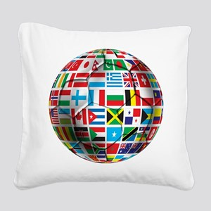 World Soccer Ball Square Canvas Pillow