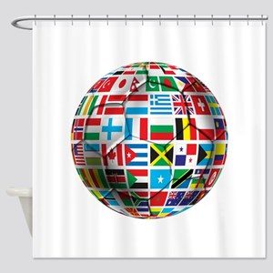World Soccer Ball Shower Curtain