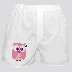 Cute Pink Owl Boxer Shorts
