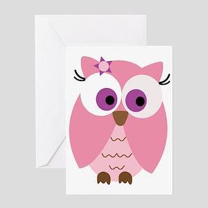 Cute Pink Owl Greeting Card
