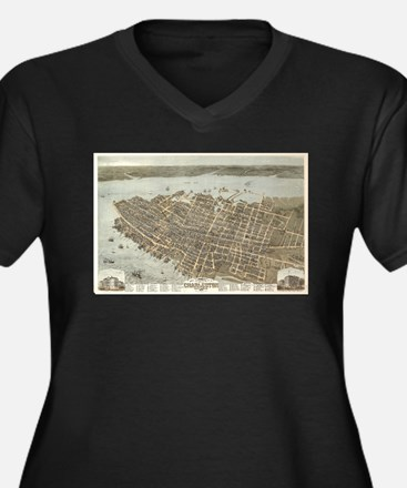 Vintage Pictorial Map of Charles Plus Size T-Shirt