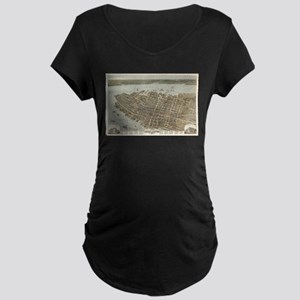 Vintage Pictorial Map of Charles Maternity T-Shirt
