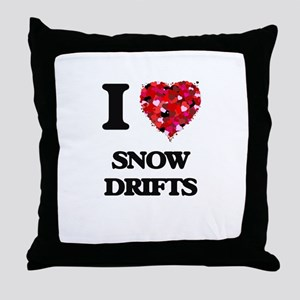 I love Snow Drifts Throw Pillow
