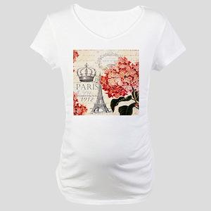 Paris hydrangea Maternity T-Shirt