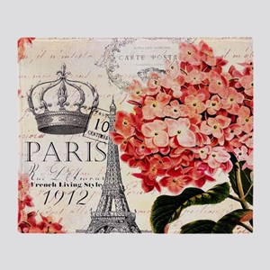Paris hydrangea Throw Blanket