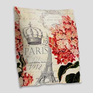 Paris hydrangea Burlap Throw Pillow