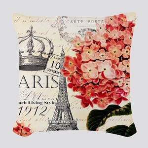 Paris hydrangea Woven Throw Pillow