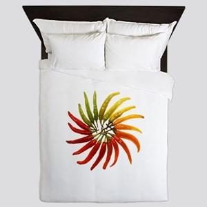Charleston Hot Peppers Color Wheel Queen Duvet