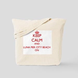 Keep calm and Luna Pier City Beach Michig Tote Bag