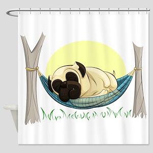 Pug in a Hammock Shower Curtain